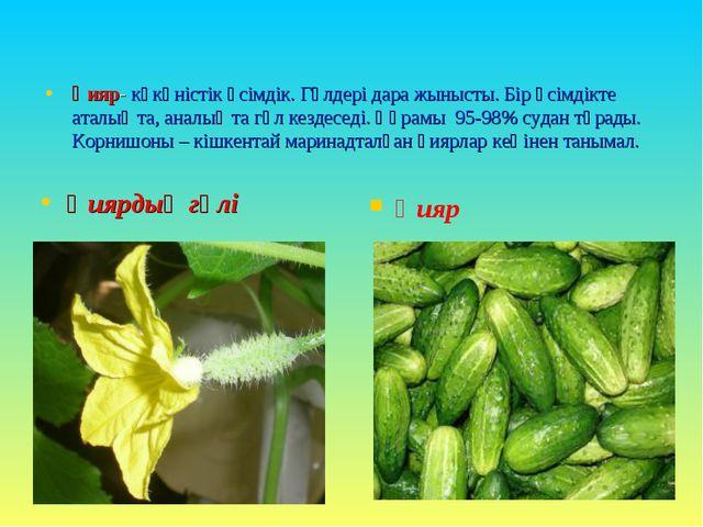 Қияр- көкөністік өсімдік. Гүлдері дара жынысты. Бір өсімдікте аталық та, анал...