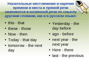 Указательные местоимения и наречия времени и места в прямой речи заменяются в