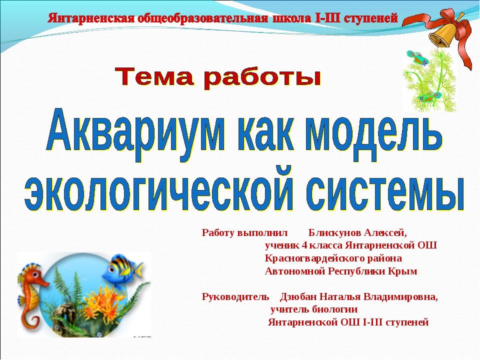Работу выполнил Блискунов Алексей, ученик 4 класса Янтарненской ОШ Красногвар...