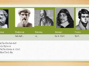 a5×(3a-4)=3a6-4a5 9y-(x-9y)=-x 2x³×(3x-6)=6x 4 -12x³; 8-(8x+7)=1-8x Архимед П
