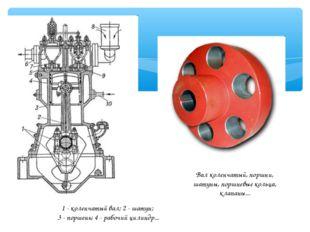 1 - коленчатый вал; 2 - шатун; 3 - поршень; 4 - рабочий цилиндр... Вал коленч