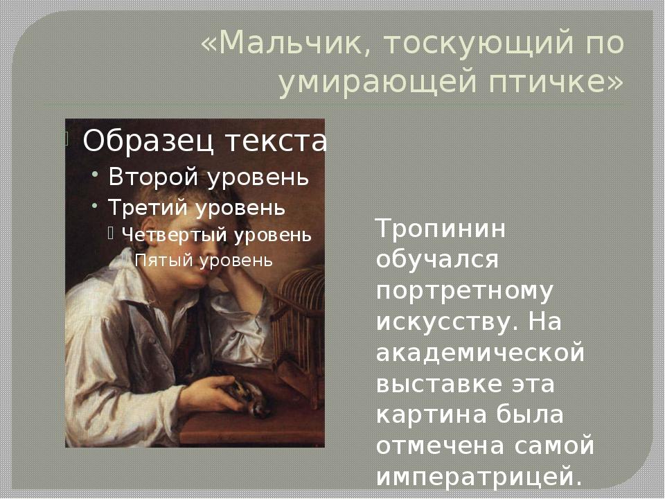 «Мальчик, тоскующий по умирающей птичке» Тропинин обучался портретному искусс...