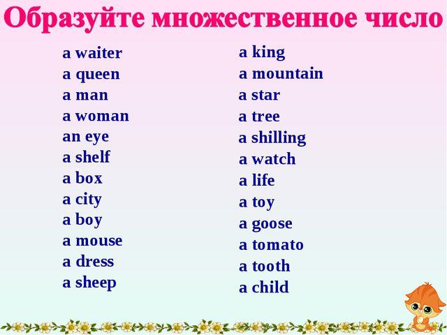 a waiter a queen a man a woman an eye a shelf a box a city a boy a mouse a dr...
