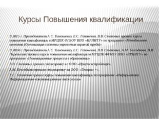 Курсы Повышения квалификации В 2015 г. Преподаватели А.С. Тимошенко, Е.С. Гап