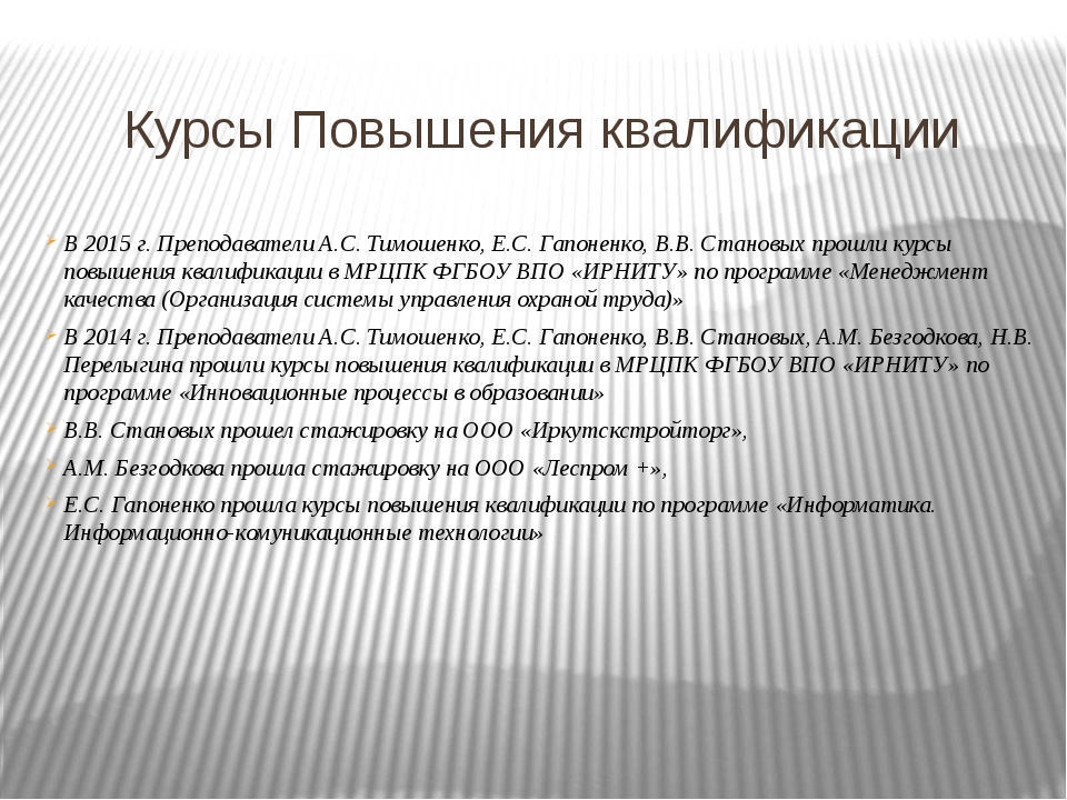 Курсы Повышения квалификации В 2015 г. Преподаватели А.С. Тимошенко, Е.С. Гап...
