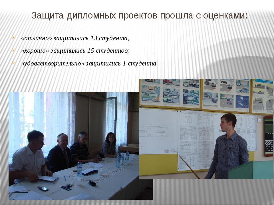 Защита дипломных проектов прошла с оценками: «отлично» защитились 13 студента...