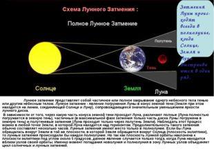Лунное затмение представляет собой частичное или полное закрывание одного не
