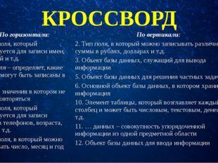 КРОССВОРД Погоризонтали: Повертикали: 1. Тип поля, который используется для з