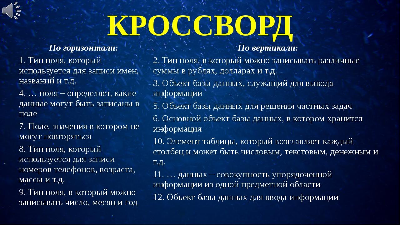 КРОССВОРД Погоризонтали: Повертикали: 1. Тип поля, который используется для з...