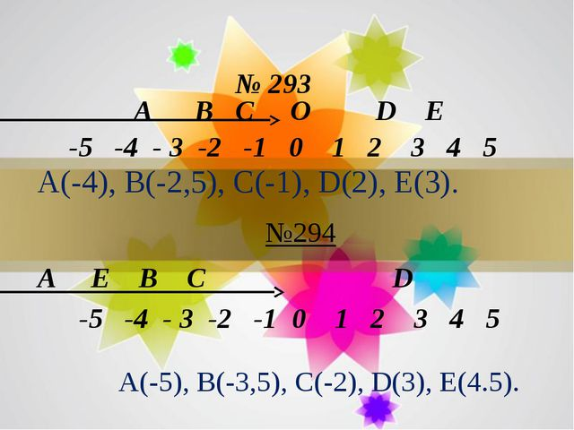 № 293 -5 -4 - 3 -2 -1 0 1 2 3 4 5 A B C O D E А(-4), В(-2,5), С(-1), D(2), Е...