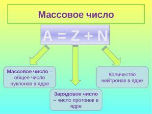 Массовое число А = Z + N Массовое число – общее число нуклонов в ядре Зарядов