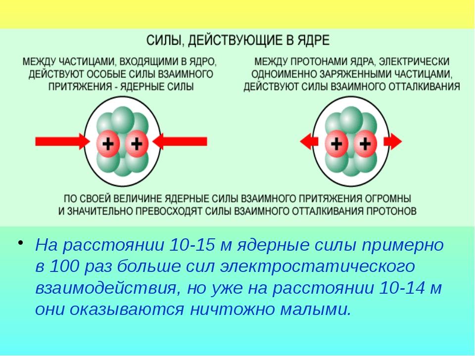 На расстоянии 10-15 м ядерные силы примерно в 100 раз больше сил электростати...