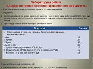 Лабораторная работа «Оценка состояния противоинфекционного иммунитета» Цель: