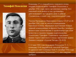 Командир 17-го гвардейского танкового полка гвардии подполковник Тимофей Поз