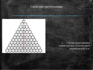 Свойства треугольника Строки треугольника симметричны относительно вертикальн