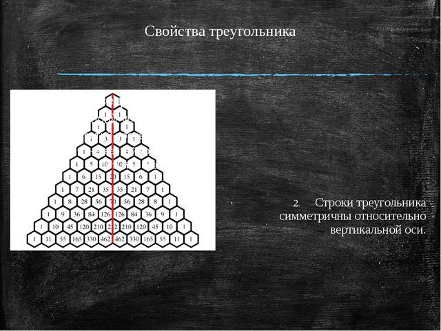 Свойства треугольника Строки треугольника симметричны относительно вертикальн...