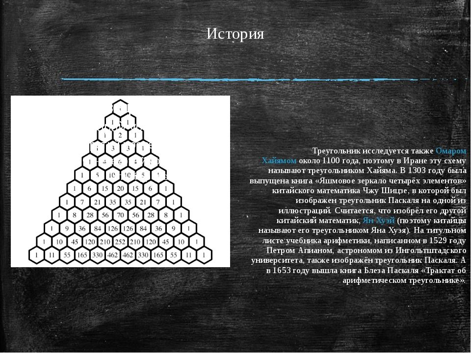История Треугольник исследуется такжеОмаром Хайямомоколо1100 года, поэтом...
