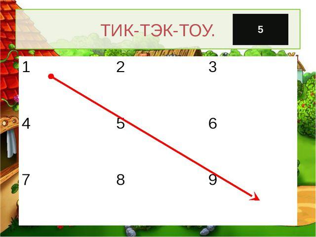 ТИК-ТЭК-ТОУ. 1 2 3 4 5 6 7 8 9