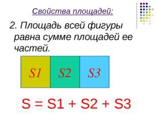 Свойства площадей: 2. Площадь всей фигуры равна сумме площадей ее частей. S =