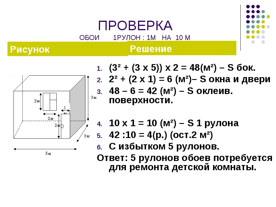 ПРОВЕРКА ОБОИ 1РУЛОН : 1М НА 10 М (3² + (3 х 5)) х 2 = 48(м²) – S бок. 2² + (...