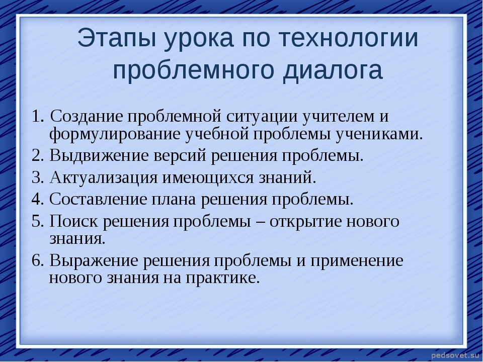 Этапы урока по технологии проблемного диалога 1. Создание проблемной ситуации...
