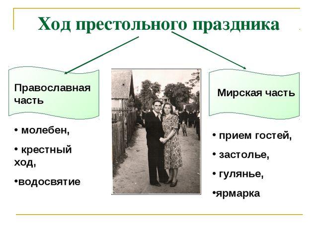 Ход престольного праздника Православная часть Мирская часть молебен, крестный...