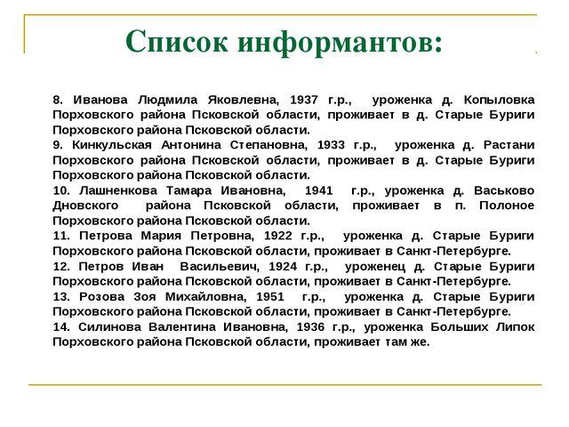 Список информантов: 8. Иванова Людмила Яковлевна, 1937 г.р., уроженка д. Копы...