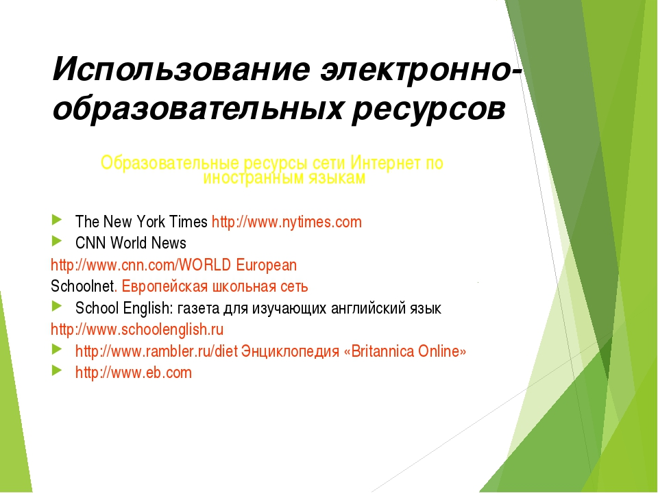 Использование электронно-образовательных ресурсов Образовательные ресурсы сет...