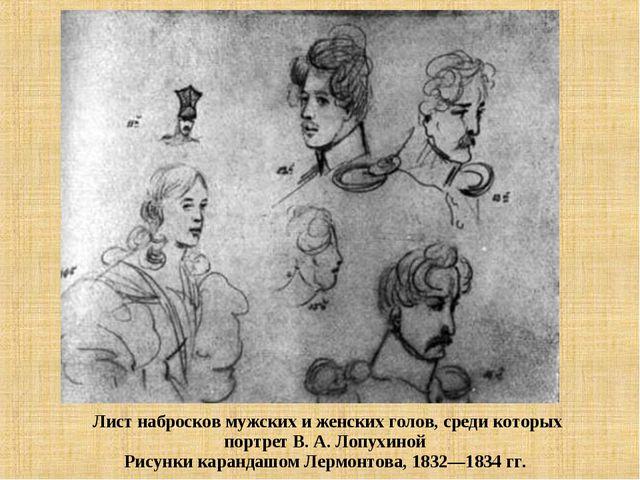 Лист набросков мужских и женских голов, среди которых портрет В. А. Лопухино...