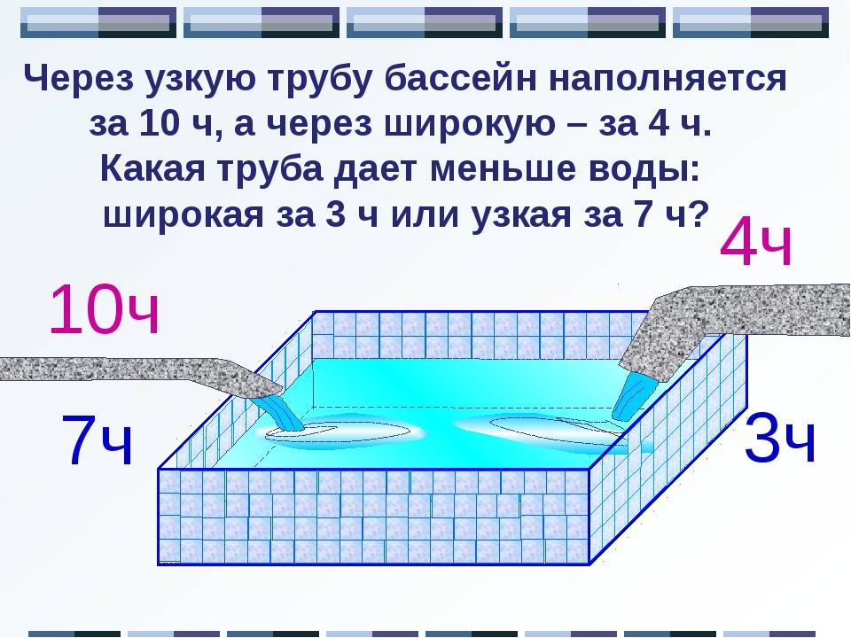 Через узкую трубу бассейн наполняется за 10 ч, а через широкую – за 4 ч. Как...