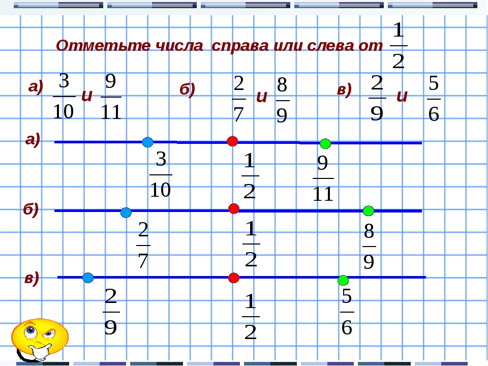 Отметьте числа справа или слева от а) б) в) а) б) в) и и и