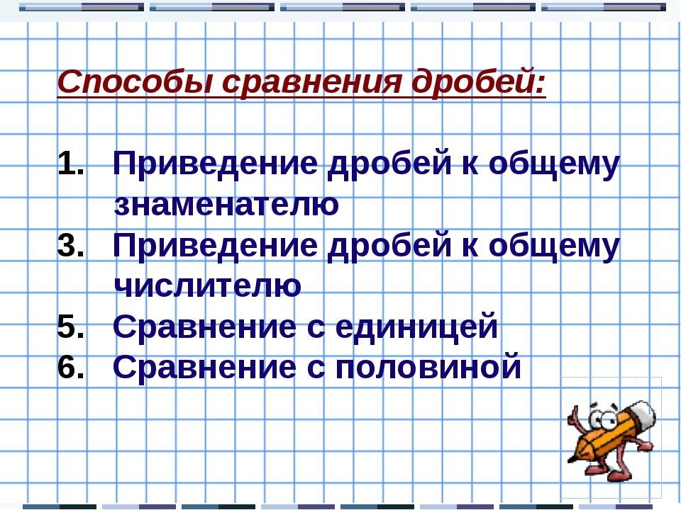 Способы сравнения дробей: Приведение дробей к общему знаменателю Приведение д...