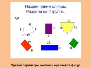 Сравни периметры желтой и оранжевой фигур