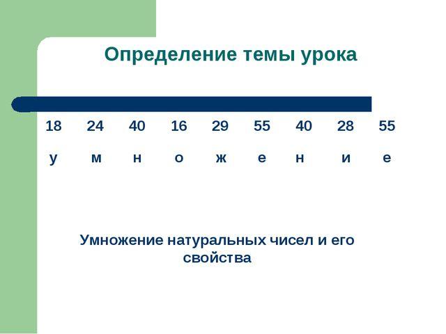 Определение темы урока Умножение натуральных чисел и его свойства
