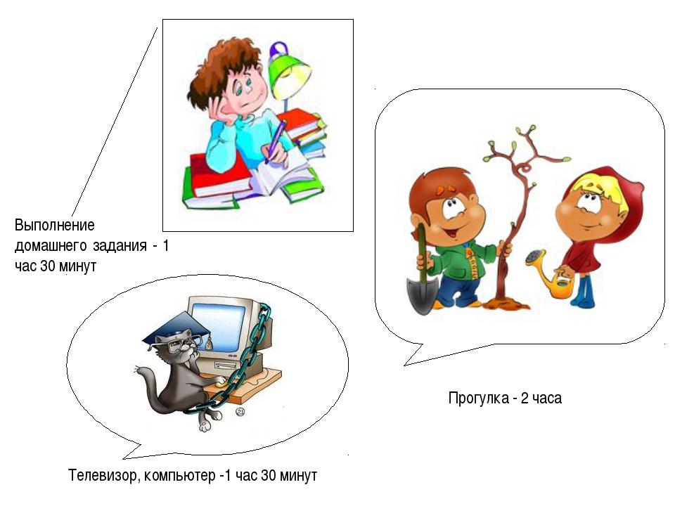 Выполнение домашнего задания - 1 час 30 минут Прогулка - 2 часа Телевизор, ко...
