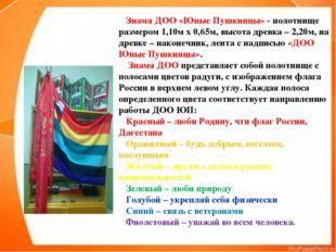 Знамя ДОО «Юные Пушкинцы» - полотнище размером 1,10м х 0,65м, высота древка