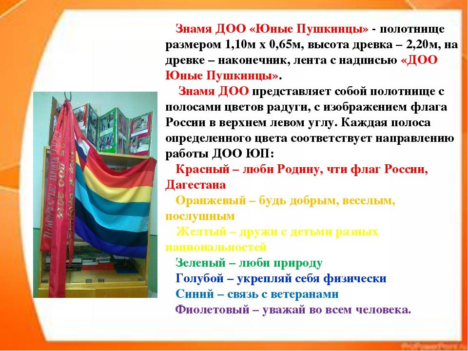 Знамя ДОО «Юные Пушкинцы» - полотнище размером 1,10м х 0,65м, высота древка...