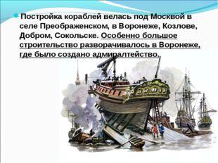 Постройка кораблей велась под Москвой в селе Преображенском, в Воронеже, Козл