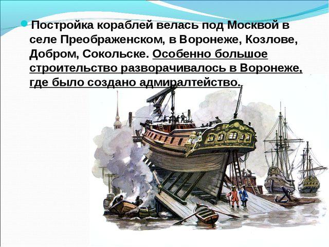 Постройка кораблей велась под Москвой в селе Преображенском, в Воронеже, Козл...