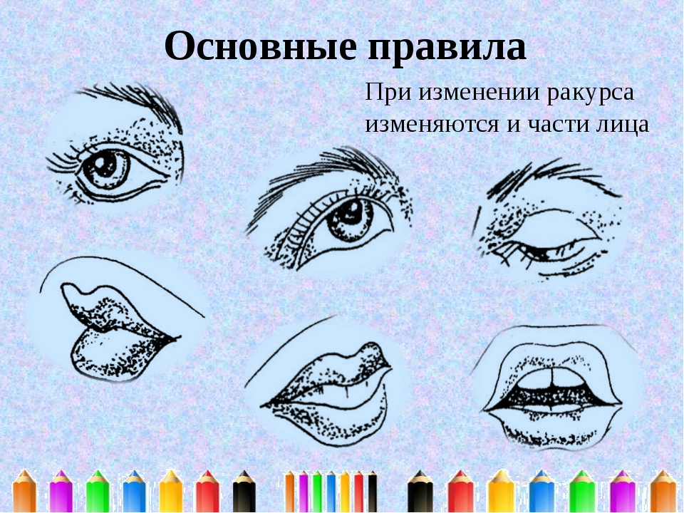 Основные правила При изменении ракурса изменяются и части лица