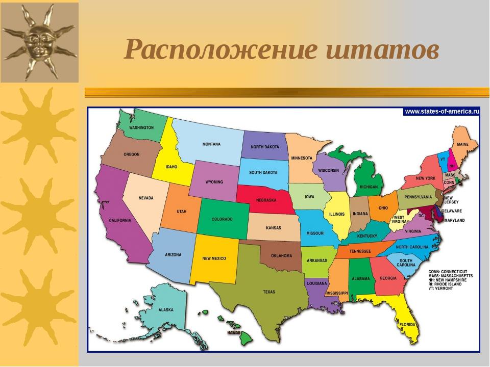 Расположение штатов