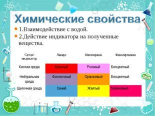 1.Взаимодействие с водой. 2.Действие индикатора на полученные вещества. Среда