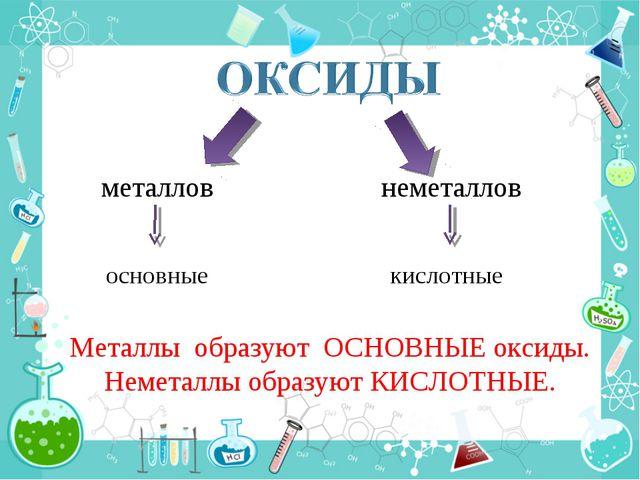 металлов неметаллов основные кислотные Металлы образуют ОСНОВНЫЕ оксиды. Неме...