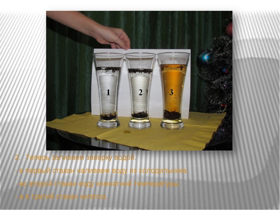 2.Теперь заливаем заварку водой. - в первый стакан наливаем воду из холодиль...