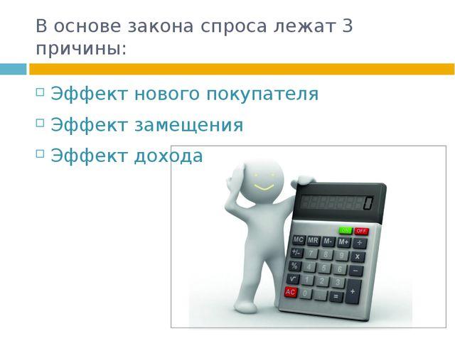 В основе закона спроса лежат 3 причины: Эффект нового покупателя Эффект замещ...