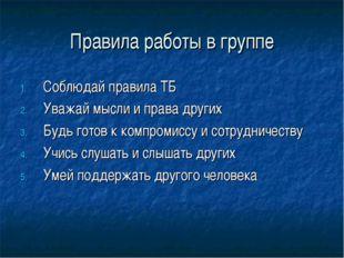 Правила работы в группе Соблюдай правила ТБ Уважай мысли и права других Будь