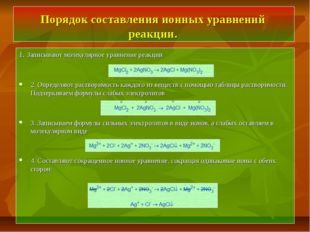 Порядок составления ионных уравнений реакции. 1. Записывают молекулярное урав