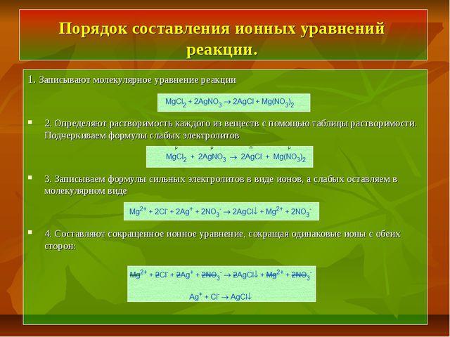 Порядок составления ионных уравнений реакции. 1. Записывают молекулярное урав...
