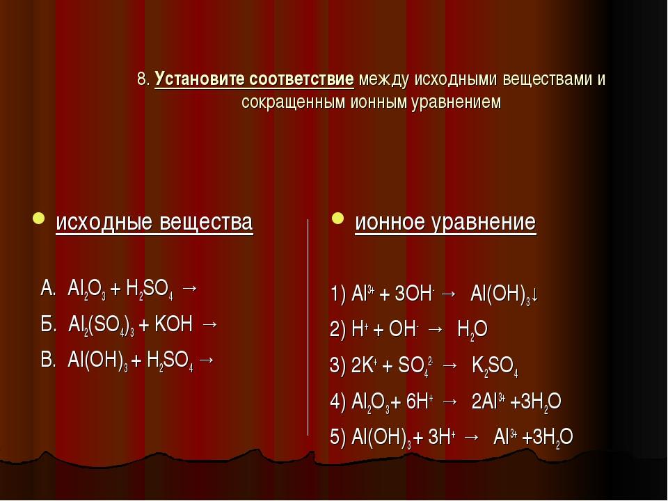 8. Установите соответствие между исходными веществами и сокращенным ионным ур...