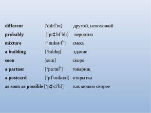 different ['dıfrǝnt] другой, непохожий probably ['prɒbǝblı] вероятно mixture
